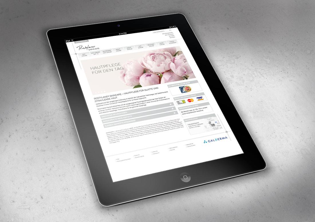 Redesign des Webshops, Startseite, Pflegeserie