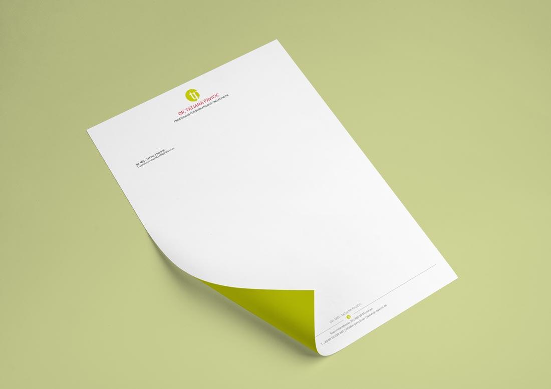 Briefbogen und Geschäftsausstattung für Arztpraxis in München aus Düsseldorf