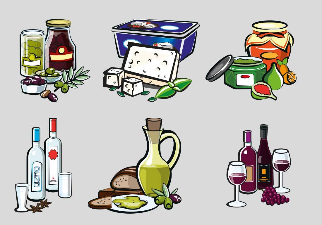 Illustration von Speisen und Getränken foodillustration
