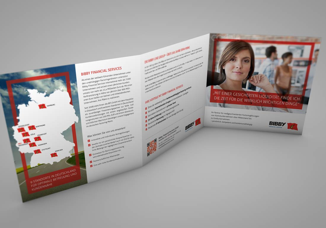 Folder Broschüre für Finanzdienstleister Bibby gestaltet und gedruckt von der Werbeagentur April5 Düsseldorf