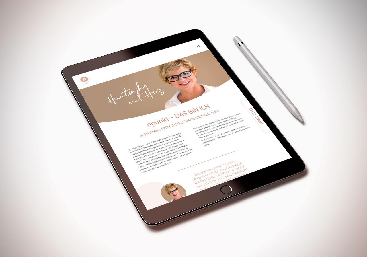 Responsive Webdesign für npunkt Kosmetik in Düsseldorf