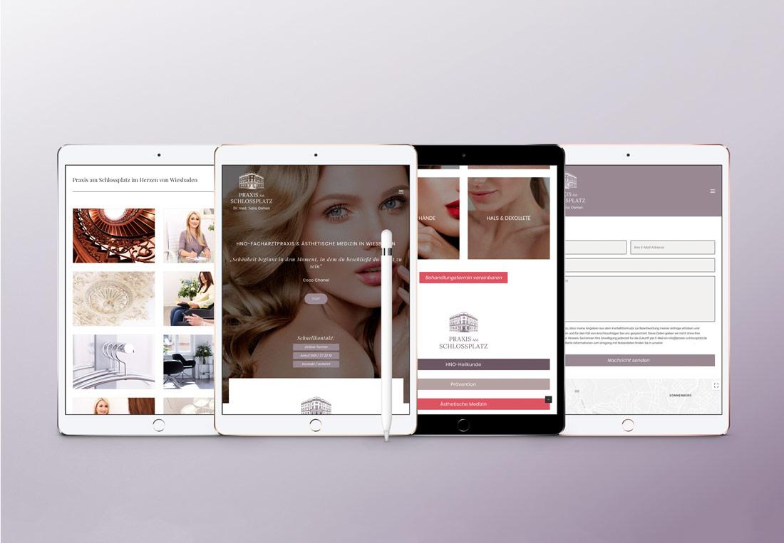Für Mobilgeräte angepasste Webseite Praxisseite Wiesbaden